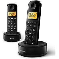 Philips D1602B/34 Draadloze telefoon (achtergrondverlichting, HQ-geluid, tot 4 microtelefoons, Agenda 50 namen en…