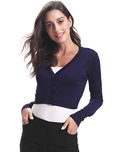 Abollria Bolero voor dames, kort gebreid vest, lange mouwen, cardigan, elegante jas, V-hals met knoop