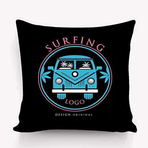 wuhandeshanbao Pillow case Surfing Logo Design Original Creative Badge can be Used surf Club Shop Print Emblem Label Flyer Banner Poster 18 18 inch