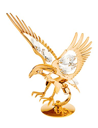 Eagle 24k Gold Plated Metal Figurine with Spectra Crystals by Swarovski