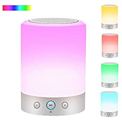 Bedside Lamp with Bluetooth Speakers,WONFAST Portable Touch Sensor Wireless Speakers LED Night Light Atmosphere Mood Table Lamp,Support Voice Timing Alarm Clock FM Radio TF Card Function