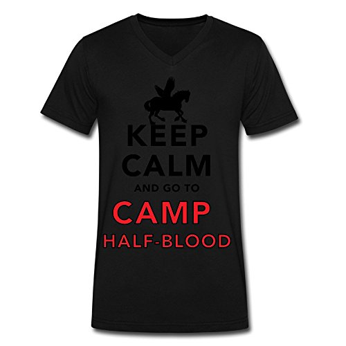 Men's Keep Calm And Go To Camp Half Blood V Neck T Shirt Black (Logan Lerman Merchandise compare prices)