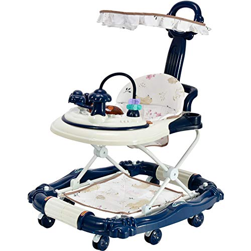 PLAFUETO 3 in 1 Baby Walker Rocking Horse Walk-Behind Walker Rollover Prevention 8 Silent Wheels Adjustable Seat Height Double Parking Brakes 2 Push Bars Canopy Blue