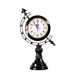Retro Desk Clock Decoration, Creative Simple Mute Earth Clock,DXNSPF Home Living Room Decoration Desk Clock, 16.17.8Inch , black