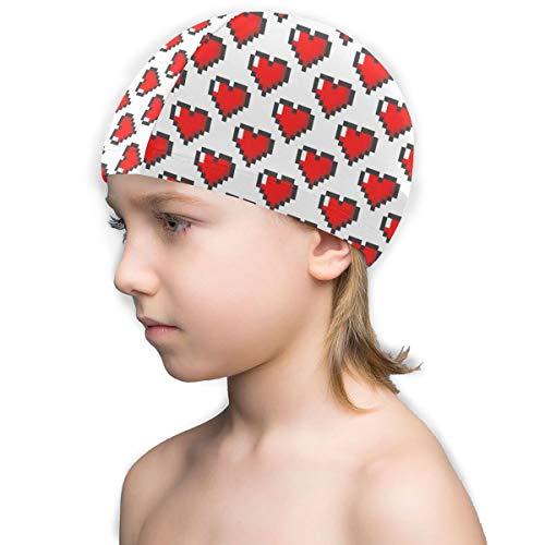 YIEOFH Heart Pattern Valentine's Day Love Lycra Swim Caps Kids Long Hair Swimming Cap for Girls Boys Kids Teens