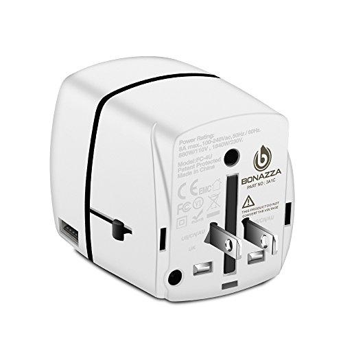 BONAZZA Universal World Travel Plug Power Adapter w/4 Fast Charging USB Port (3 USB A +1 USB C) International Plugs Adaptor for US, AU, Asia, Europe, UK Plug Adapters Compatible Over 150 Countries