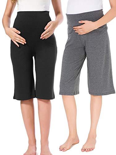 Jinson 2 Pack Women's Maternity Shorts Wide/Straight Comfortable Knee Capri Lounge Pregnancy Pants by Jinson