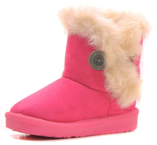 IOO Baby Girls Boys Plush-filled Bailey Button Snow Boots Warm Winter Flat Shoes Rose 30