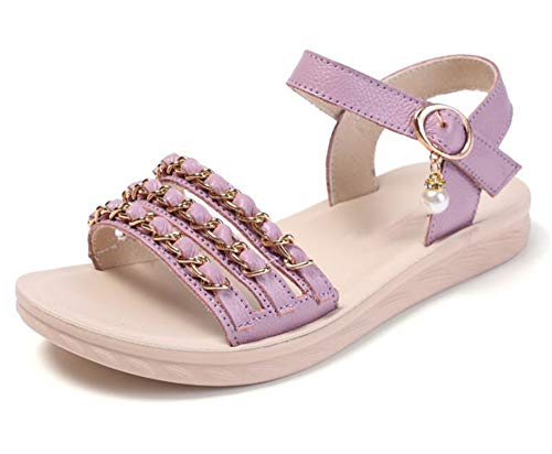 Rose town Girls lace and Pearl Open Toe T-Strap Kitten Low Heel Sandals,Wedding Boots (Toddler/Little/Bing Girl)(Purple-32/1 M US Little Kid)