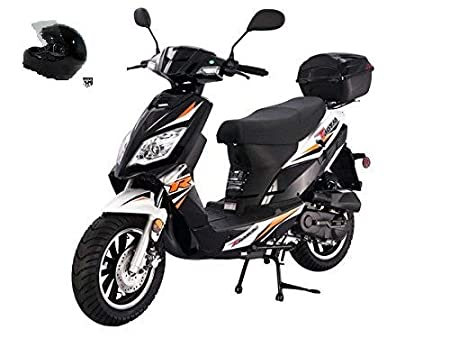 TAO SMART DEALSNOW brings Brand new Tao Tao Thunder 50 Gas Street Legal Scooter with matching trunk and DOT Approved HARD HEAD HELMET - Sporty Black Color