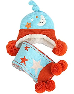 Cute Baby Comfortable Knit Hat and Scarf Set Unisex Infant Toddler 6-24 Months