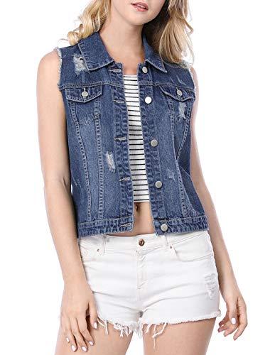 (Allegra K Women's Turn Down Collar Button Closure Denim Washed Vest Blue XS (US 2))