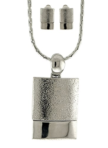 Mi Amore Silver-Tone Necklace With Rectangle Shaped Pendant And Matching Clip-On Earrings TMN628