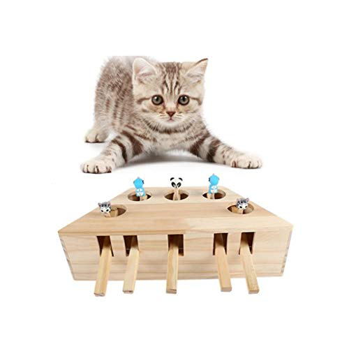 Interactive Pet Cat Toy, Kitten Funny Wooden Cartoon Exercise Toy Cat A Mole...