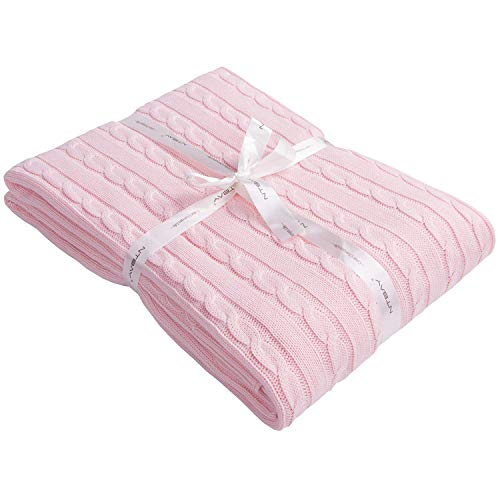 (NTBAY 100% Cotton Cable Knit Throw Blanket Super Soft Warm Multi Color (51 x 67 inches, Baby Pink))