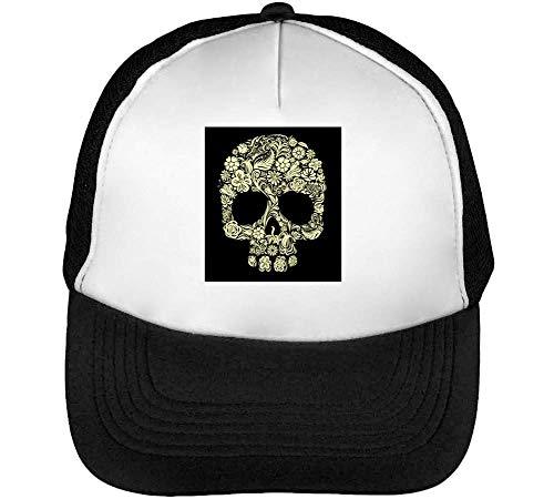 Skull Floral Hipster Gorras Hombre Snapback Beisbol Negro Blanco