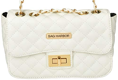 Bag Sag Stitching Diamond Harbor Faux Body Leather Pattern White Casual with Cross qwfT1gqO