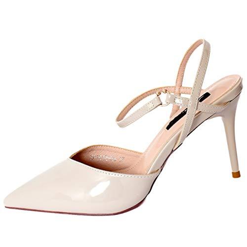 shoes 8cm lacquer Thirty four slim sandals fashionable LBTSQ heeled wild high thin buckles Baotou 7EqX7wOP