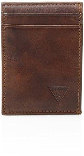Guess Men's Naples Slim Front-Pocket Wallet, Tan, One Size -