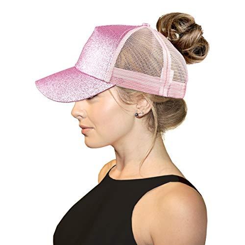 Women Adjustable Mesh Trucker Baseball Visor Sport Sun Bun Hat Ponytail Sequin Glitter ()