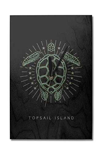 Lantern Press Topsail Island, North Carolina - Neon Turtle (10x15 Wood Wall Clock, Decor Ready to ()