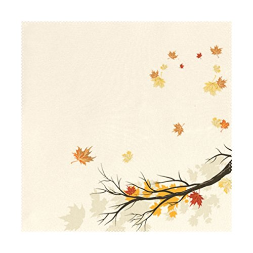 U LIFE Decorative Hello Welcome Autumn Fall Maple Leaves Tray Mat Plate Place Mats Placemats for Kitchen Dining Table Single Side Print 12 x 12 Inch Machine Washable Biege N6