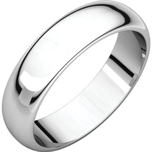 02.50 mm Half Round Wedding Band Ring in 14k White Gold Size 10.5