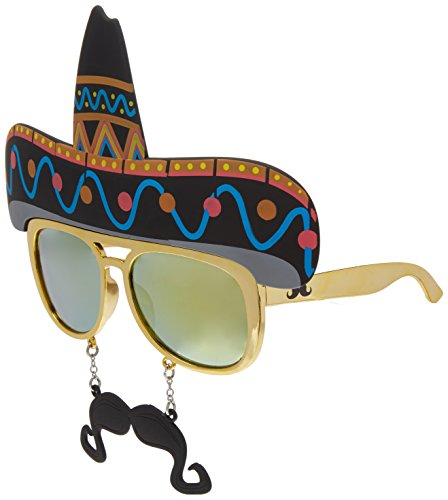 Costume Sunglasses Sombrero Sun-Staches Party Favors UV400 -