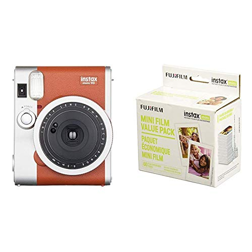 Fujifilm Instax Mini 90 Instant Film Camera (Brown) with Instant Film Value Pack - (3 Twin Packs, 60 Total Pictures)(Package may vary)