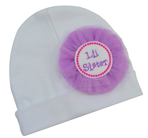 Little Sister Baby Hat with Felt Lil Sister Embroidered Appliqué and Tulle Flower By Funny Girl Designs (WHITE HAT/PURPLE FLOWER)