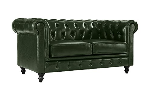 Classic Scroll Arm Real Italian Leather Chesterfield Love Seat (Green)