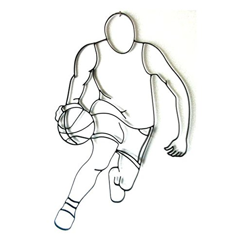 (World Unique Imports BFB-0503 Basketball Player Dribbling Metal Wall Décor and Sculpture Black)
