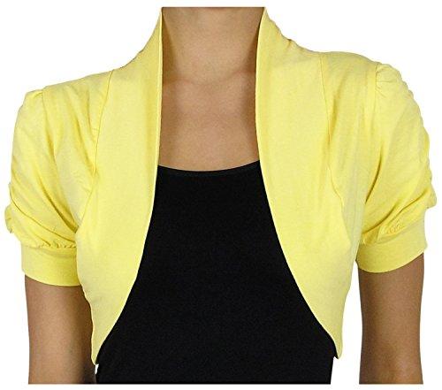 KMystic Short Sleeve Bolero Shrug Cardigan (Small, Yellow)