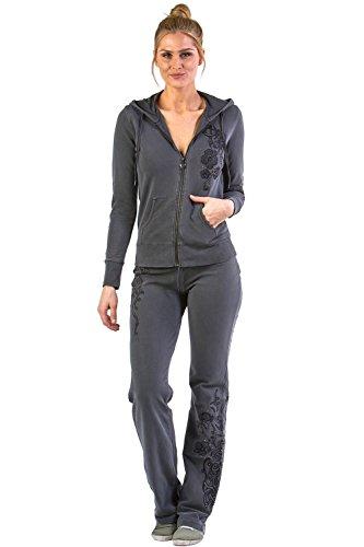 Sweater Suits (Vertigo Paris Women's Flower Embroidered Lounge Tracksuit Jog Set - Black - Small)