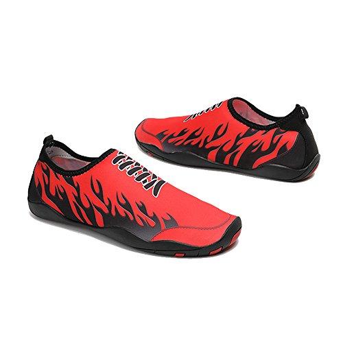 YIRUIYA Frauen Männer Quick-Dry Barfuß Wasser Schuhe Haut Aqua Socken Mit Entwässerung Löcher ¡ Rot 2