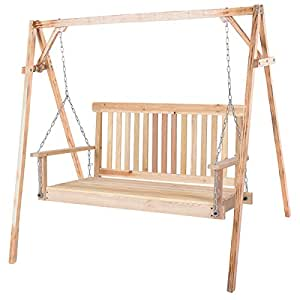 Porch Swing Natural Wood Garden Swing Bench Patio Hanging Seat Chains 4FT
