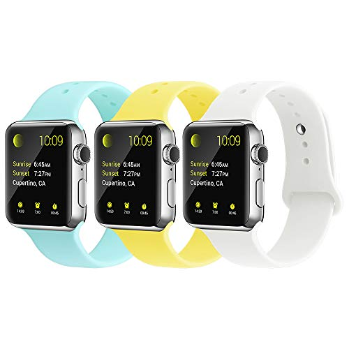 YUNSHU Compatible iWatch Band Replacement iWatch Band 38mm/40mm S/M for Women and Man Soft Sports Band Strap Silicone Series 4 Series 3 Series 2 Series 1-3 Pack -
