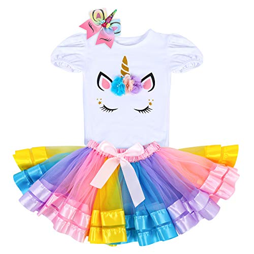 Unicorn Birthday Outfit Rainbow Tutu Dress Baby Girls Romper + Ruffle Tulle Skirt + Flower Horn Headband Princess Fancy Dress up Party Costume 3Pcs Cake Smash Set Clothes Rainbow + Hair Rope 6-12M -