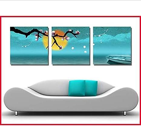 Pintura en lienzo HD 3 PIEZAS Cuadros de pared para sala de estar Impresiones de pintura al óleo sobre lienzo Paisaje abstracto Cielo azul Mar Camino de madera Xim040-40CM*40CM*3