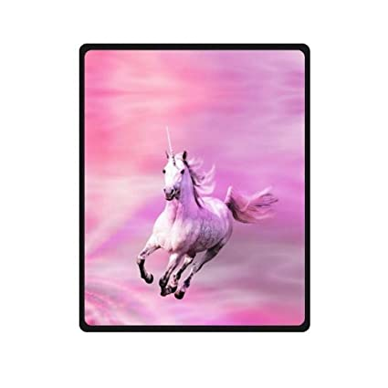 Pink unicorn fleece blanket