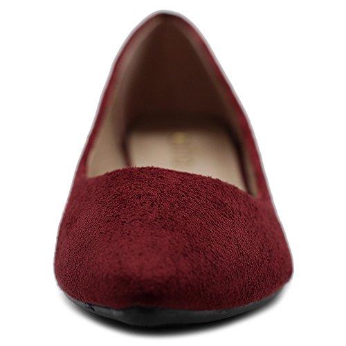 Women's Ballet Burgundy Multi Shoe Faux Light Ollio Color Suede Comfort Flat Ud5qwFCg