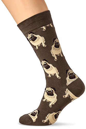 Life Pug (Socksmith Men's Socks Pugs Crew Brown 1pair (One Size Fits Sock Size 10-13))