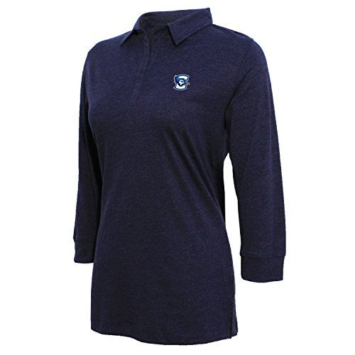 NCAA Creighton Bluejays Women's Campus Specialties 3/4 Sleeve Jersey Polo, Heather Blue, Medium