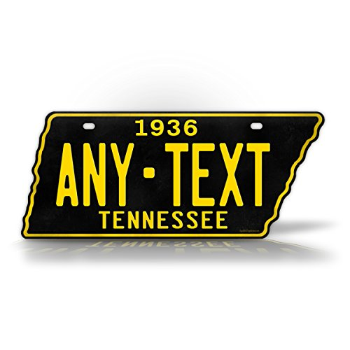 - 1954-1958 Replica Tennessee License Plate CUSTOMIZED State Shaped TN Antique Personalized Auto Tag