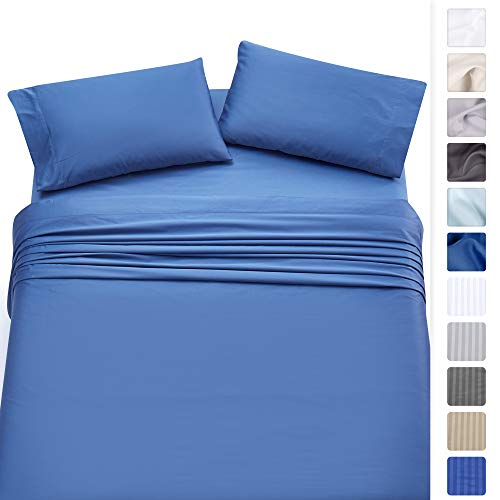 500-Thread-Count 100% Cotton - Moonlight Blue King Sheet Set, 4-Piece Long-staple Combed Pure Cotton Best Sheets For Bed, Breathable, Soft & Silky Sateen Weave - Fits Mattress upto 18'', Deep Pocket ()