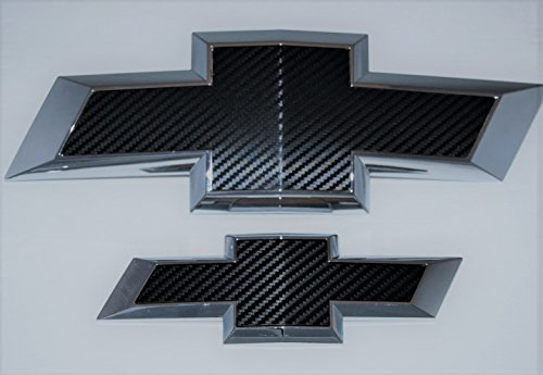 2015 Chevy Suburban Black carbon fiber billet aluminum bowtie grille and tailgate emblems