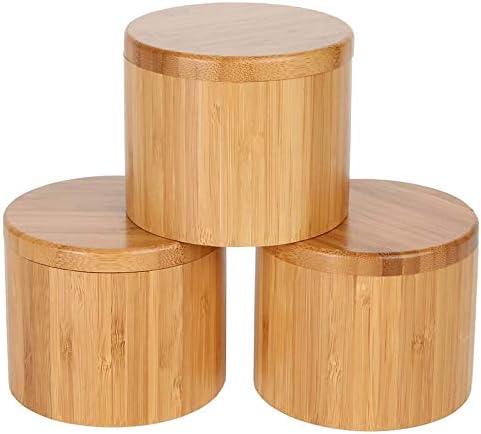 SODIAL Caja Redonda de Almacenamiento de Sal y Especias de Tarro de Bambú Caja Peque?A de Sal con Cierre MagnéTico Caja de Almacenamiento de Bambú con Tapa Giratoria MagnéTica: Amazon.es: Hogar