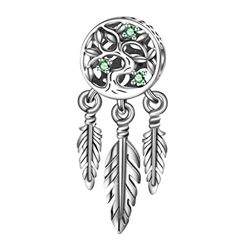 DALARAN 925 Sterling Silver Charms for Bracelet Maple Leaves Flower Charm Bead Heart Shape Women Jewelry Gift (Dream Catcher)