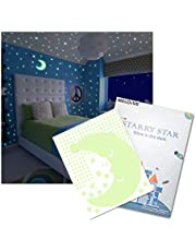 Meloive Pegatinas de Estrellas para Pared Que Brillan en la Oscuridad,507 Calcomanías Luminosas de Puntos Adhesivos más 1 una Luna, Decoración Fluorescente para Pared para Habitaciones de Niños