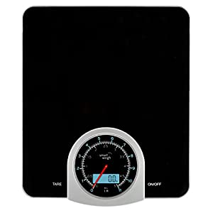 Smart Weigh Digital / Mechanical Kitchen and Food Scale with LCD Display, 11lb Capacity and Large Weighing Platform, Black
